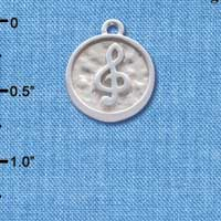 C4628+ tlf - Music Clef - Round Seal - Silver Plated Charm (2 per package)