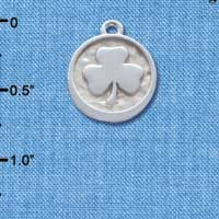 C4633+ tlf - Shamrock - Round Seal - Silver Plated Charm (2 per package)