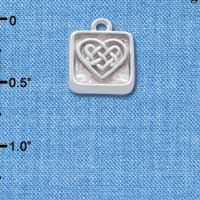C4637+ tlf - Celtic Knot Heart - Square Seal - Silver Plated Charm (2 per package)