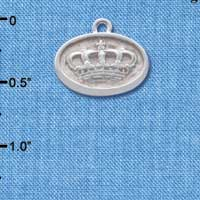 C4641+ tlf - Crown - Oval Seal - Silver Plated Charm (2 per package)