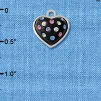 C4665 tlf - Black Resin Heart in Frame with Tropical Crystals - Silver Plated Charm (6 per package)