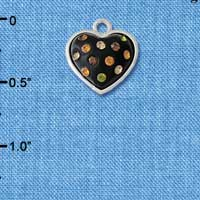 C4666 tlf - Black Resin Heart in Frame with Fall Crystals - Silver Plated Charm (6 per package)