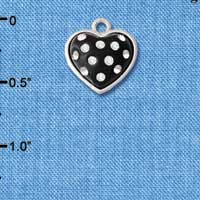 C4667 tlf - Black Resin Heart in Frame with Clear Crystals - Silver Plated Charm (6 per package)