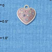 C4669 tlf - Pink Resin Heart in Frame with Spring Crystals - Silver Plated Charm (6 per package)