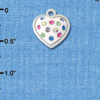 C4670 tlf - White Resin Heart in Frame with Spring Crystals - Silver Plated Charm (6 per package)