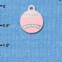 C4695 tlf - Pink Softball with Pink Crystal Stitching - Silver Plated Charm (2 per package)