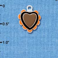 C4733+ tlf - Brown & Black Heart with Orange Ruffles - 2 Sided - Silver Plated Charm (2 per package)