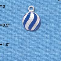C4755+ tlf - Small 3-D Blue Present Box with Silver Bow - Silver Plated Charm (2 per package)