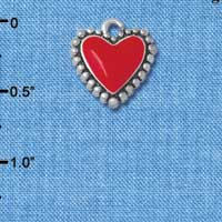C4775+ tlf - Red Heart with Beaded Border - Silver Plated Charm (2 per package)