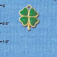 C4777+ tlf - Opaque Green Lucky Four Leaf Clover - 2 Sided - Silver Plated Charm (2 per package)