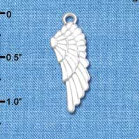 C4809* tlf - Large White Enamel Angel Wing - Silver Plated Charm (6 per package)