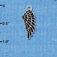 C4811* tlf - Medium Black Enamel Angel Wing - Silver Plated Charm (6 per package)