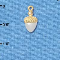 C4827+ tlf - Small Silver Acorn with Gold Top and Crystals - Im. Rhodium & Gold Plated Charm (2 per package)