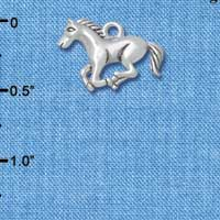 C4830+ tlf - Running Horse - 2 Sided - Silver Plated Charm (2 per package)