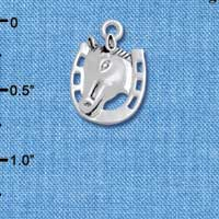 C4831+ tlf - Horse Head with Horseshoe - 2 Sided - Silver Plated Charm (2 per package)