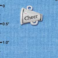 C4833+ tlf - Silver Cheer Megaphone with AB Crystal - 2 Sided - Silver Plated Charm (2 per package)