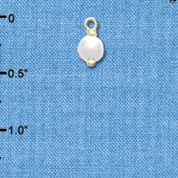 C4851+ tlf - 6mm Glass Pearl Bead Drop with Ball Head Pin - Gold Plated Charm (6 per package)