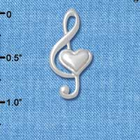 C4855 tlf - Large Clef with Heart - Silver Plated Charm (6 per package)