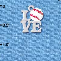 C4883 tlf - Silver Love with Baseball - Silver Plated Charm (6 per package)