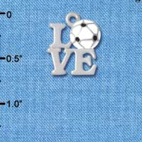 C4885 tlf - Silver Love with Soccer Ball - Silver Plated Charm (6 per package)