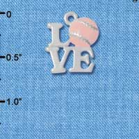 C4888 tlf - Silver Love with Pink Softball - Silver Plated Charm (6 per package)