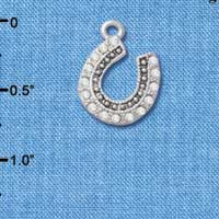 C4892+ tlf - Beaded Clear Crystal Horseshoe with Good Luck - Silver Plated Charm (2 per package)