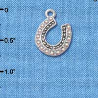 C4893+ tlf - Beaded Clear AB Crystal Horseshoe with Good Luck - Silver Plated Charm (2 per package)