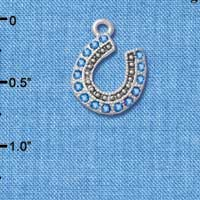 C4895+ tlf - Beaded Blue Crystal Horseshoe with Good Luck - Silver Plated Charm (2 per package)