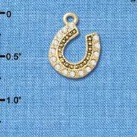 C4896+ tlf - Beaded Clear Crystal Horseshoe with Good Luck - Gold Plated Charm (2 per package)