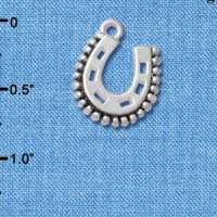 C4897+ tlf - Beaded Horseshoe - Silver Plated Charm (6 per package)