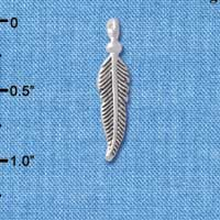 C4901+ tlf - Small 3-D Feather - Silver Plated Charm (6 per package)