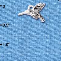 C4903+ tlf - Small 3-D Hummingbird - Silver Plated Charm (6 per package)