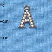 C4922 tlf - Crystal Black Letter - A - Beaded Border - Black Nickel Plated Charm (2 per package)