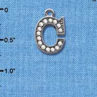 C4924 tlf - Crystal Black Letter - C - Beaded Border - Black Nickel Plated Charm (2 per package)