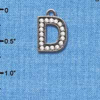 C4925 tlf - Crystal Black Letter - D - Beaded Border - Black Nickel Plated Charm (2 per package)