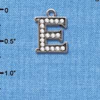 C4926 tlf - Crystal Black Letter - E - Beaded Border - Black Nickel Plated Charm (2 per package)