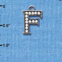 C4927 tlf - Crystal Black Letter - F - Beaded Border - Black Nickel Plated Charm (2 per package)