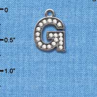 C4928 tlf - Crystal Black Letter - G - Beaded Border - Black Nickel Plated Charm (2 per package)