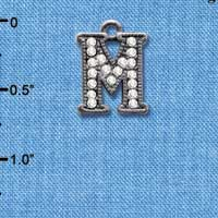 C4934 tlf - Crystal Black Letter - M - Beaded Border - Black Nickel Plated Charm (2 per package)