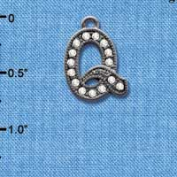 C4938 tlf - Crystal Black Letter - Q - Beaded Border - Black Nickel Plated Charm (2 per package)