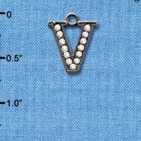C4943 tlf - Crystal Black Letter - V - Beaded Border - Black Nickel Plated Charm (2 per package)