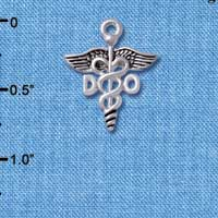 C4952 tlf - Caduceus - DO - Silver Plated Charm (6 per package)