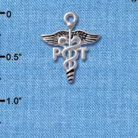 C4953 tlf - Caduceus - PT - Silver Plated Charm (6 per package)