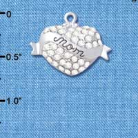 C4994 tlf - 'Mom' Banner on Clear Crystal Heart - Silver Plated Charm (2 per package)