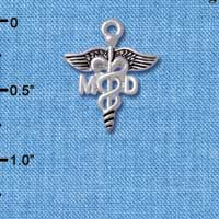 C5000 tlf - Caduceus - MD - Silver Plated Charm (6 per package)