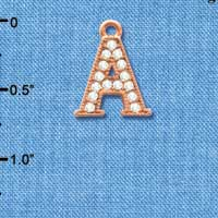 C5041 tlf - Crystal Rose Gold Letter - A - Beaded Border - Rose Gold Plated Charm (2 per package)