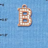 C5042 tlf - Crystal Rose Gold Letter - B - Beaded Border - Rose Gold Plated Charm (2 per package)