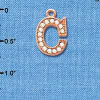 C5043 tlf - Crystal Rose Gold Letter - C - Beaded Border - Rose Gold Plated Charm (2 per package)
