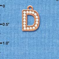 C5044 tlf - Crystal Rose Gold Letter - D - Beaded Border - Rose Gold Plated Charm (2 per package)