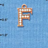 C5046 tlf - Crystal Rose Gold Letter - F - Beaded Border - Rose Gold Plated Charm (2 per package)